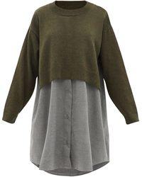 MM6 by Maison Martin Margiela - セーターパネル ウールブレンドシャツドレス - Lyst