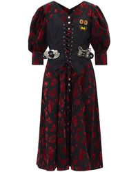 Chopova Lowena Taz Corset Flocked-cotton Midi Dress - Multicolour