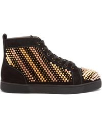 Christian Louboutin Galvalouis Spikes Suede High-top Sneakers - Black