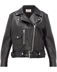 Acne Studios New Meryln Leather Biker Jacket - Black
