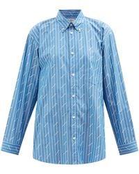 Balenciaga モノグラム&ピンストライプ コットンブレンドシャツ - ブルー