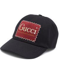 Gucci グッチ ラベル付き コットン ベースボールキャップ - ブラック