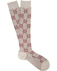 c2431894de8 Gucci - Gg Logo Intarsia Metallic Knee High Socks - Lyst