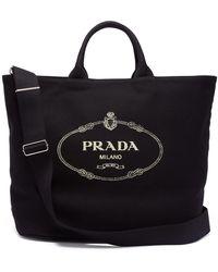 Prada Logo-print Canvas Tote - Black