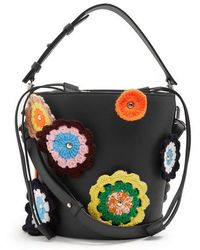 JW Anderson - Bucket Crochet-appliqué Leather And Canvas Tote - Lyst