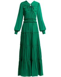 Proenza Schouler Ruffled Long Silk Dress - Green