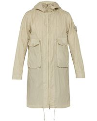 Stone Island Technical Cotton Blend Parka - Natural