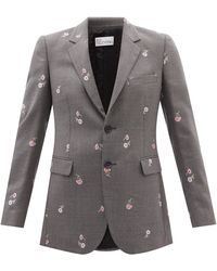 RED Valentino Single-breasted Houndstooth Wool-blend Blazer - Grey