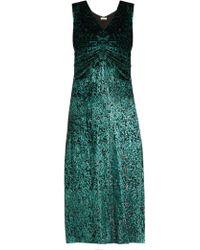 MASSCOB Laurent Ruched Velvet Dress - Green