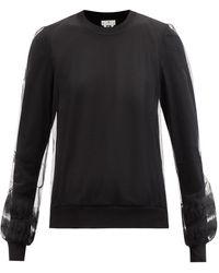 Noir Kei Ninomiya Tulle-layered Silk-knit Jumper - Black