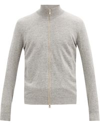 Brunello Cucinelli Stand-neck Cashmere Track Top - Grey