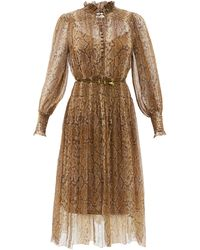 Zimmermann パイソン シルクジョーゼットドレス - ブラウン