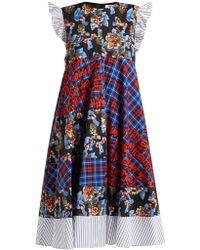 MSGM - Contrast Panel Cotton Dress - Lyst