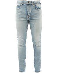Saint Laurent Distressed Slim-leg Jeans - Blue