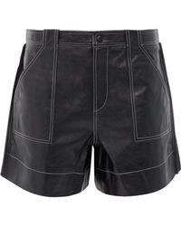 Ganni Topstitched Leather Shorts - Black