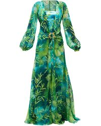 Versace Jungle-print Plunge-neck Silk-chiffon Dress - Green
