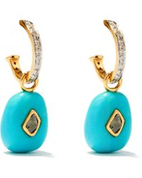 Jade Jagger Diamond, Turquoise & 18kt Gold Hoop Earrings - Blue