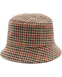 Prada - Houndstooth Wool-tweed Bucket Hat - Lyst