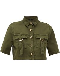 Balmain Military Cropped Cotton-blend Shirt - Green