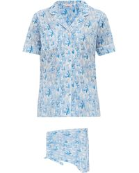 Derek Rose Ledbury 23 Cotton Pyjamas - Blue