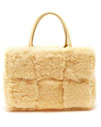 Bottega Veneta Arco Small Shearling Tote Bag - Metallic