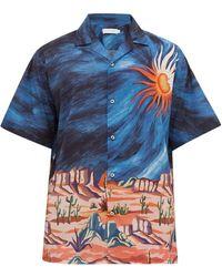 Desmond & Dempsey Bellas Artes Desert パジャマシャツ - ブルー