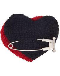 Prada Broche cœur en laine à épingle à nourrice - Rouge