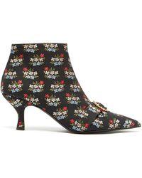 Erdem Sienna Floral Jacquard Ankle Boots - Black
