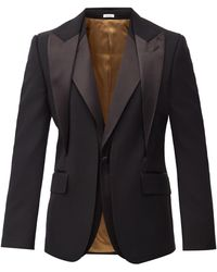 Alexander McQueen Layered Single-breasted Wool Suit Jacket - Black
