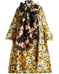 Richard Quinn - Floral Print Tie Neck Coat - Lyst