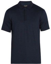 Giorgio Armani - Geometric-print Stretch-cotton Polo Shirt - Lyst
