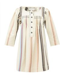 Apiece Apart Benita Striped Cotton Mini Dress - Natural