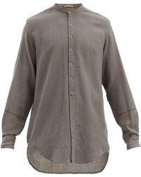 Péro Band-collar Hand-woven Wool-twill Shirt - Grey