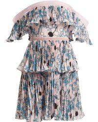 Self-Portrait - Pleated Off The Shoulder Floral Print Mini Dress - Lyst