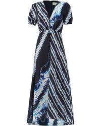 Saloni レア プリントシルクドレス - ブルー