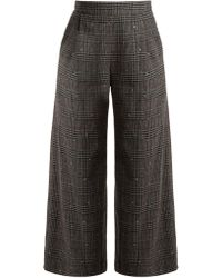MUVEIL | Wide-leg Cropped Checked Wool-blend Trousers | Lyst