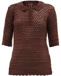 Albus Lumen Crotcheted Cotton Polo Shirt - Brown