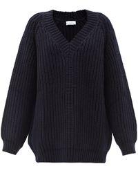 Raey Oversized V-neck Chunky Wool-blend Jumper - Blue