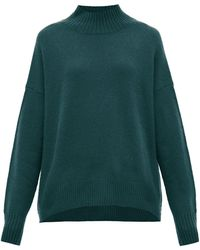 Allude Mock-neck Cashmere Sweater - Green