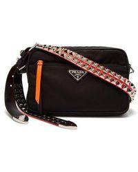 Prada - Stud-embellished Nylon Cross-body Bag - Lyst