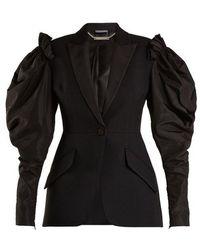 Alexander McQueen - Contrast-sleeve Wool-blend Blazer - Lyst