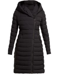 Moncler Barge Asymmetric-zip Quilted Down-filled Coat - Black