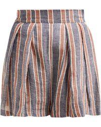 Three Graces London Kilman Striped Linen Blend Shorts - Blue