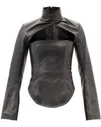 16Arlington Paria Gathered-leather Shirt - Black