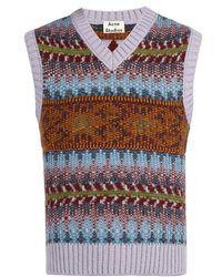 Acne Studios Fair Isle-knit Sleeveless Jumper - Purple