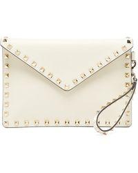 Valentino Garavani Rockstud Leather Envelope Pouch - White