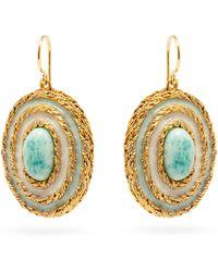 Aurelie Bidermann Boucles d'oreilles en plaqué or et turquoise Liz - Multicolore