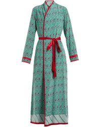 Talitha - Geometric Print Silk Crepe Robe - Lyst