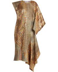 JW Anderson Asymmetric Detail Patchwork Jacquard Dress - Metallic