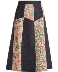 RED Valentino - Patchwork Wool Herringbone Midi Skirt - Lyst